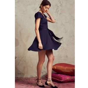 Tularosa Yvonne Wrap Dress in Deep Indigo Blue